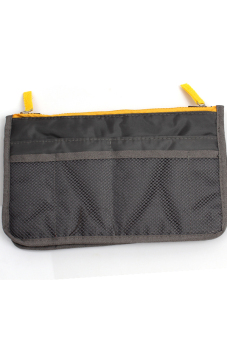 Hang-Qiao Makeup Organizer Cosmetic Nylon Zipper Bag (Dark Grey)