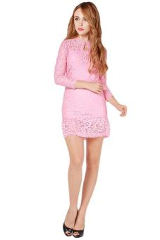 Hang-Qiao New Arrive Women Dresses Fashion Casual Lace Dress Pink