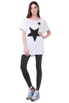 Hang-Qiao New Summer Tops Five-point Star Patterns Loose T-shirt White
