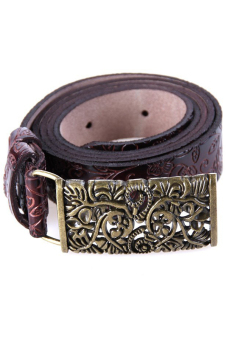 Hang-Qiao Retro Leather Carving Waistband Belt (Brown)