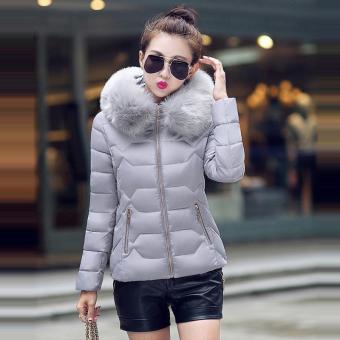 Hang-Qiao Short Down Jacket Women Warm Thick Heavy Coats (Grey) -intl - 2