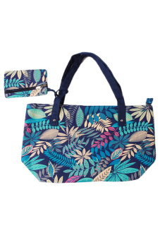 Hang-Qiao Women Canvas Shoulder Bags Leaf Print (Blue) - picture 2
