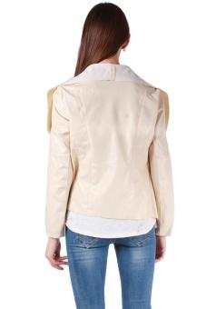 Hang-Qiao Women Faux Leather Jacket Small Coat Chic Beige - picture 2