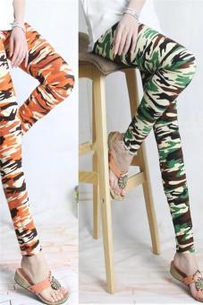 Hang-Qiao Women Graffiti Print Pencil Pants Leggings Camouflage Army Green