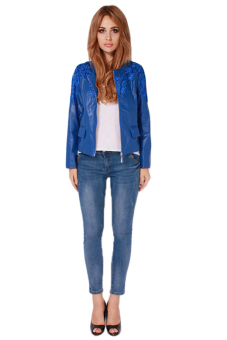 Hang-Qiao Women Lace PU Leather Jacket Coat (Blue) - picture 2
