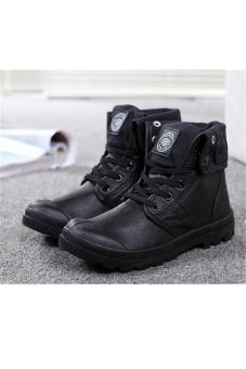 Hang-Qiao Women PU Martin Boots High Cut Tube Down Shoes Black - 2
