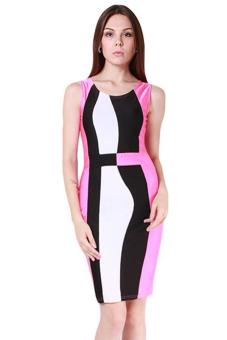 Hang-Qiao Women Sleeveless Pencil Dress Rose Red - picture 2