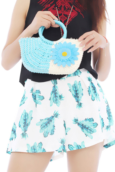 Hang-Qiao Women Sunflower Bags Straw Woven Bags Blue - picture 2