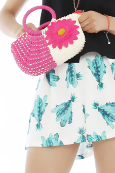 Hang-Qiao Women Sunflower Bags Straw Woven Bags Hot Pink - picture 2