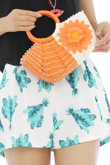 Hang-Qiao Women Sunflower Straw Woven Bag (Orange)