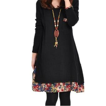 Hang-Qiao Women Thick Dress Long Sleeve Floral Splice Black - picture 2