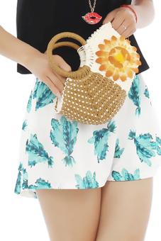 Hang-Qiao Women's Sunflower Bags Straw Woven Bags (Brown)