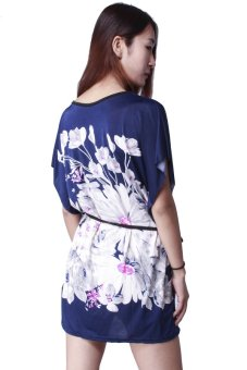 HangQiao Casual Mini Dress (Blue/White)
