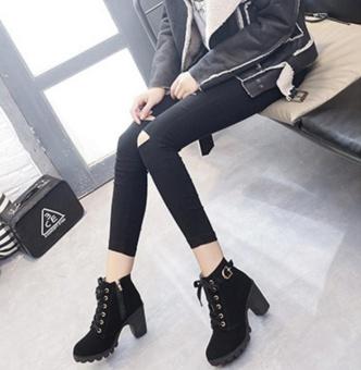 Hanyu Autumn Winter Women Lady PU Leather High Heel Martin Ankle Zipper Boots Shoes Black - intl - 4
