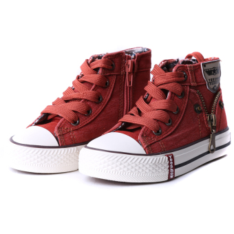 Hanyu Causal Canvas High-top Strap Flat Shoes for Baby Boys Orange