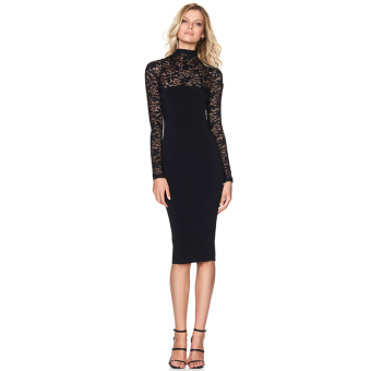 Hanyu Floral Sexy Lace Long Sleeve Dress for Women Ladies Black - 2