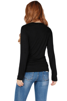 Hanyu Hot Style Blouse Sexy Knit Shirt Black - picture 2