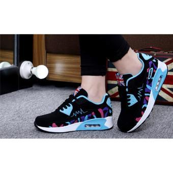 Hanyu Print Sports Fashion Casual Heeled Travel Shoes for Women Black Blue - 4