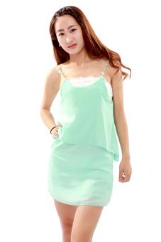 Hanyu Spaghetti Strap Dress Backless Light Green - picture 3