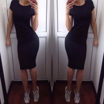 Hanyu Summer Women Short Sleeve Dress O-Neck Sexy Slim Bodycon Pencil Dress Black - intl - 3