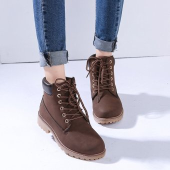 Hanyu Winter Shoes PU Leather Patchwork Strapped Flat Fashion Women Boots Brown - 3
