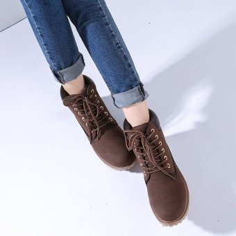 Hanyu Winter Shoes PU Leather Patchwork Strapped Flat Fashion Women Boots Brown - 5