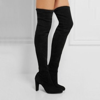 Hanyu Women Fashion Solid High Heel Suede Knee Long Boots Black - intl - 5