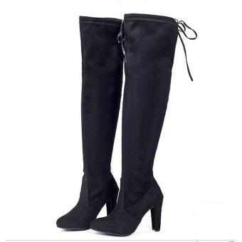 Hanyu Women Fashion Solid High Heel Suede Knee Long Boots Black - intl - 2