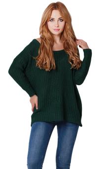 Hanyu Women Loose Sweater O-Neck Green - picture 2