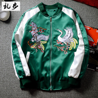 Harajuku baseball jacket embroidered JACKET (3156 embroidered Crane jacket green) (3156 embroidered Crane jacket green)