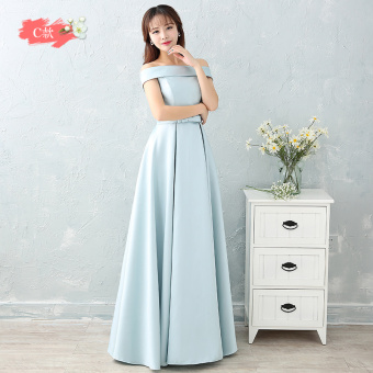 Hasty satin New style bridesmaid sisters dress bridesmaid dress (Ice blue color C Models)