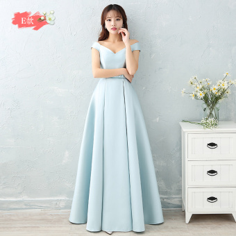 Hasty satin New style bridesmaid sisters dress bridesmaid dress (Ice blue color E Models)
