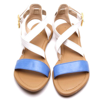 HDY Lily Flats Sandals (Blue/White)