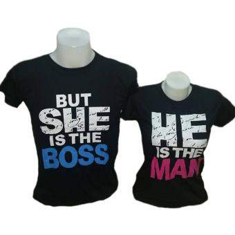 He Is The Man/But She Is The Boss Couple T-Shirt (Black)