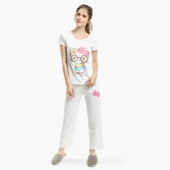 Hello Kitty Glittered Pajama Set (White)