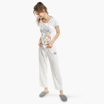 Hello Kitty Glittered Pajama Set (White)
