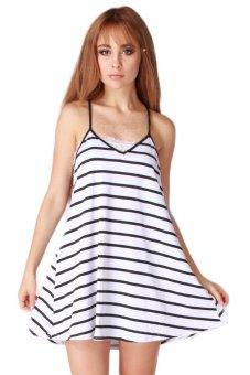 HengSong Backless Stripes V Neck Dress (Black White)