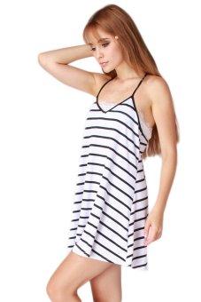 HengSong Backless Stripes V Neck Dress (Black White) - picture 2