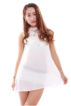 Hengsong Boho Lace Chiffon Summer Dress (White)