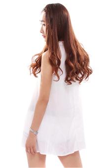 Hengsong Boho Lace Chiffon Summer Dress (White) - picture 3