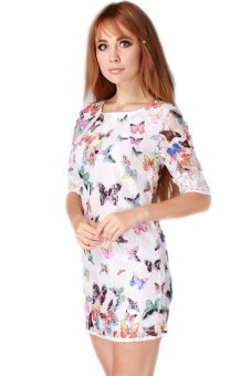 Hengsong Butterfly Printed Dress (Multicolor) - picture 2