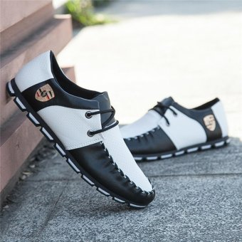 HengSong Fall New Fashion Men 's Casual Shoes Black+White - 2