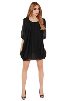 HengSong Female Fashion Chiffon Dress Mini Dresses (Black) - picture 2