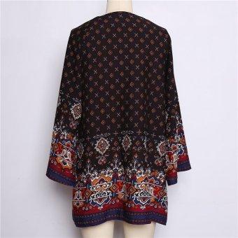 HengSong Ladies Women's Bohemian Vintage Printed Ethnic Style Loose Casual Tunic Dress Black - 2