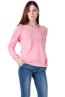 HengSong Lady T-Shirts Round Neck Autumn Tops Pink - picture 2