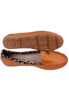 HengSong Leopard Grain Leisure Soft Leather Doug Shoes Flat ShoesYellow - 2