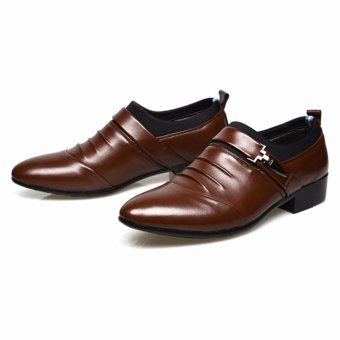 HengSong Men's Formal Business Leather Shoes Casual Formal Shoes (Brown) - intl - 4
