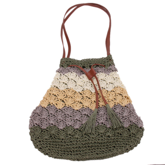 HengSong Single Shoulder Straw Bag (Green) - picture 2