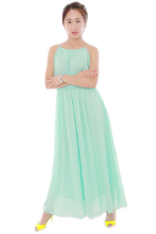 Hengsong Sleeveless Long Pleated Dress (Green)