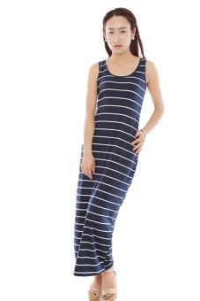 Hengsong Sleeveless Long Striped Beach Dresses (Royal Blue)